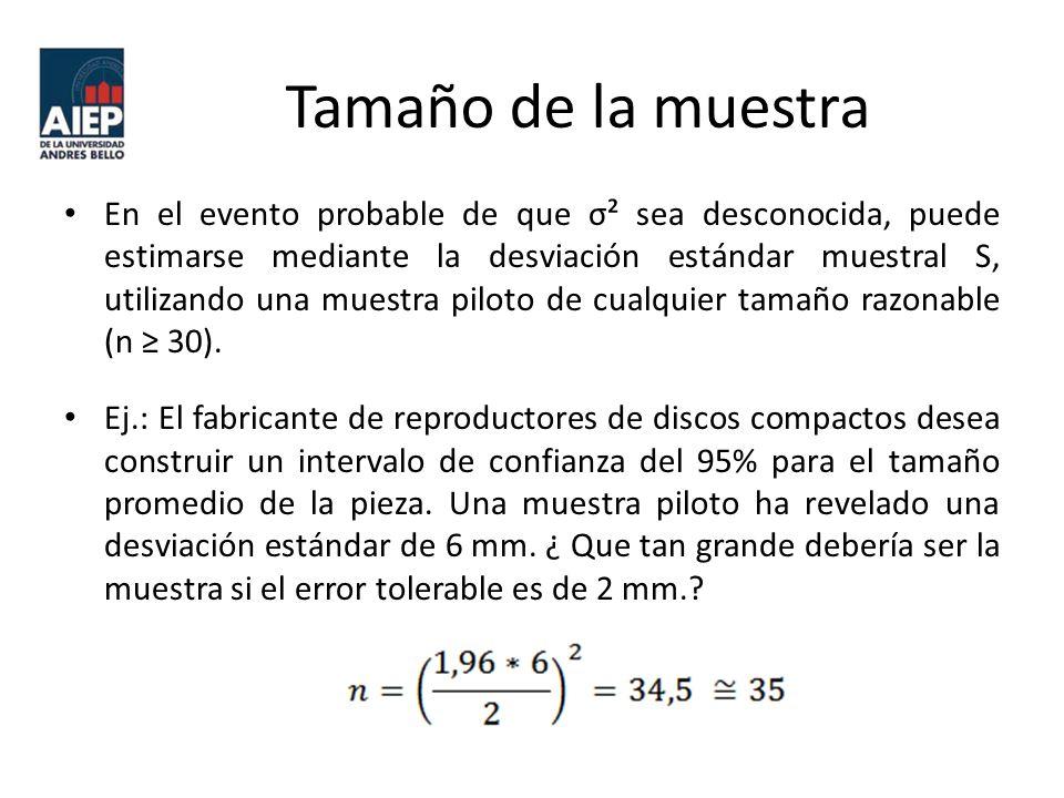 Tamaño de la muestra En el evento probable de que σ² sea desconocida, puede estimarse mediante la desviación estándar muestral S, utilizando una muestra piloto de cualquier tamaño razonable (n 30).