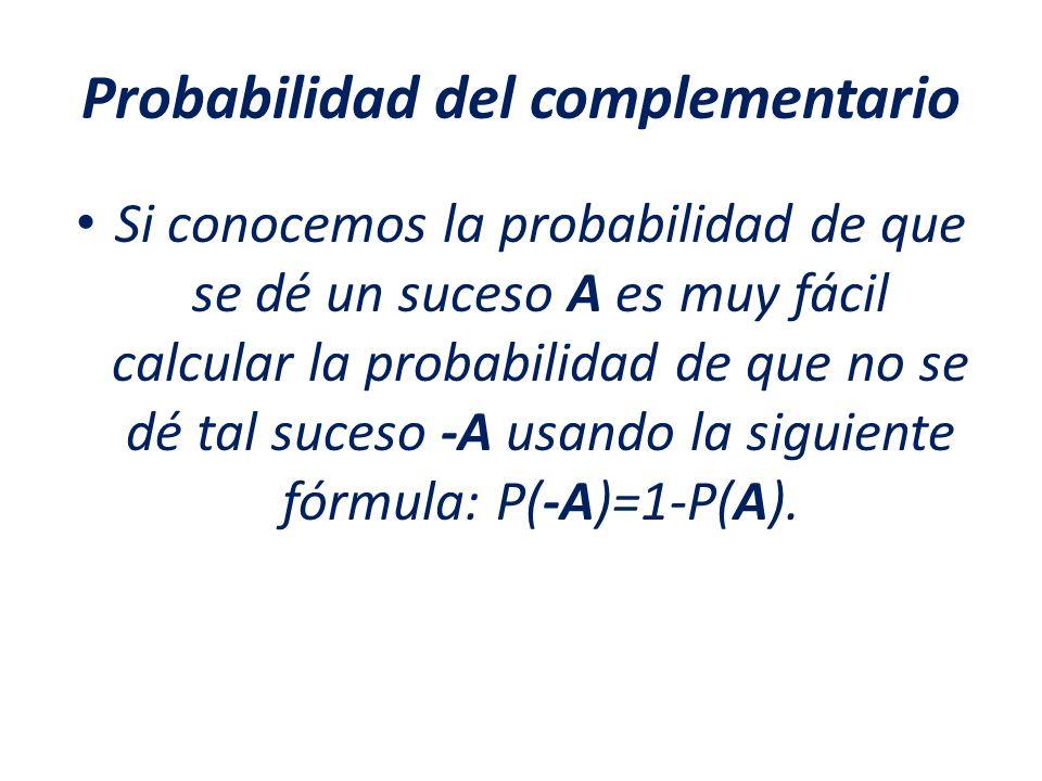 Probabilidad del complementario Si conocemos la probabilidad de que se dé un suceso A es muy fácil calcular la probabilidad de que no se dé tal suceso