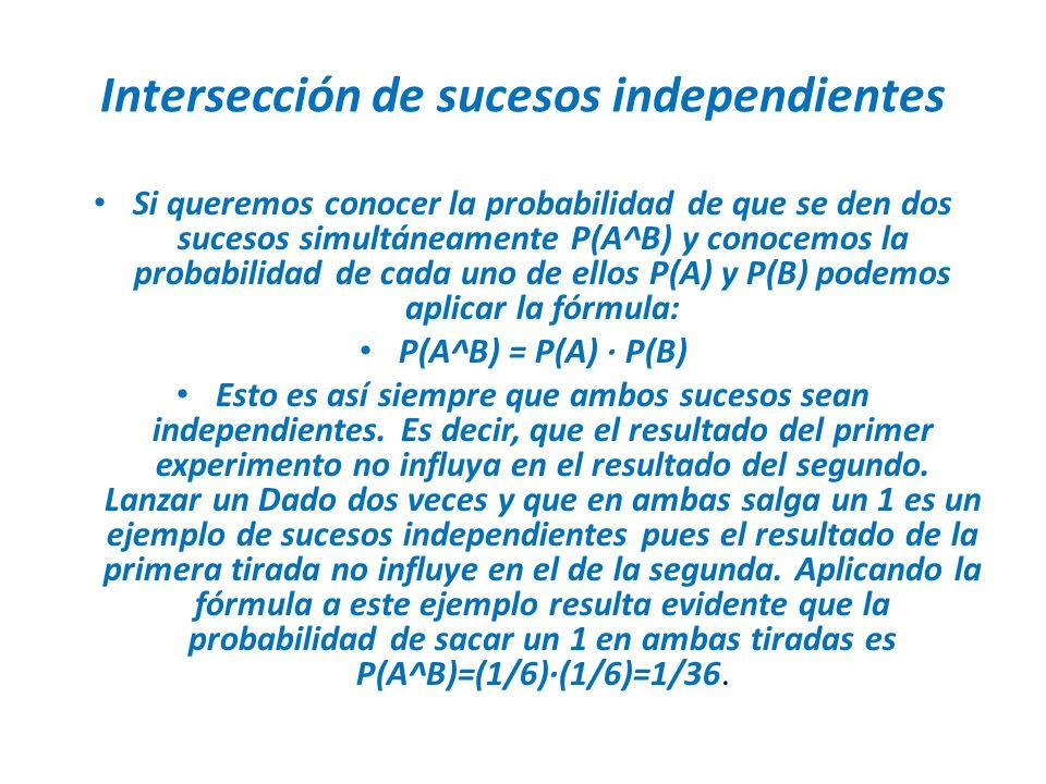 Intersección de sucesos independientes Si queremos conocer la probabilidad de que se den dos sucesos simultáneamente P(A^B) y conocemos la probabilida