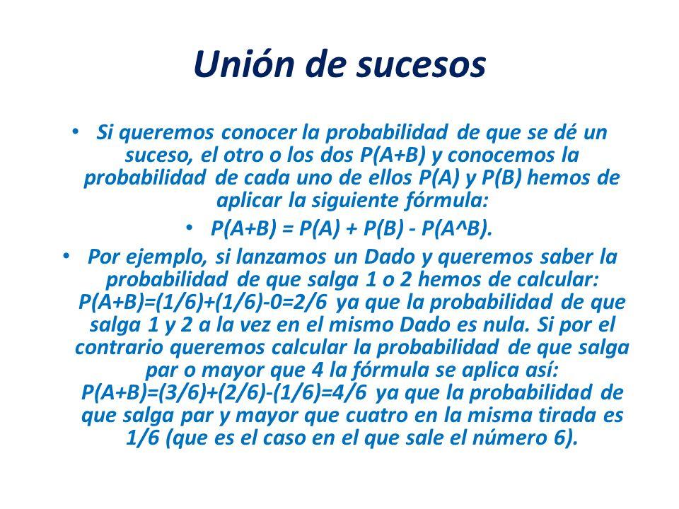 Unión de sucesos Si queremos conocer la probabilidad de que se dé un suceso, el otro o los dos P(A+B) y conocemos la probabilidad de cada uno de ellos