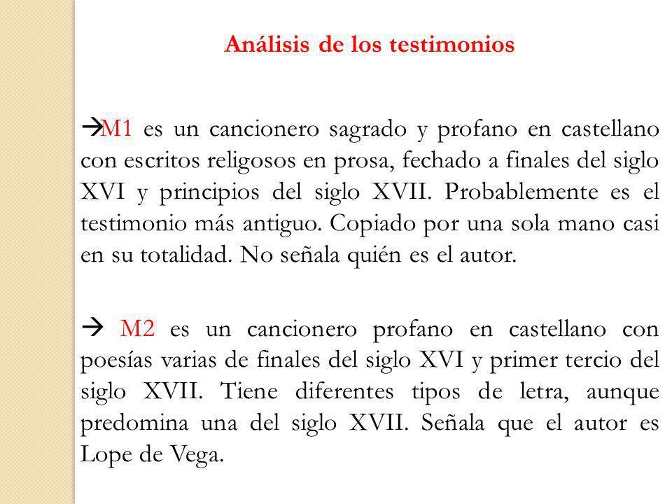 Análisis de los testimonios M1 es un cancionero sagrado y profano en castellano con escritos religosos en prosa, fechado a finales del siglo XVI y pri