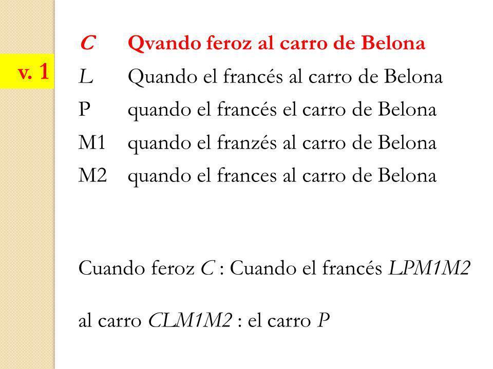 C Qvando feroz al carro de Belona L Quando el francés al carro de Belona Pquando el francés el carro de Belona M1quando el franzés al carro de Belona