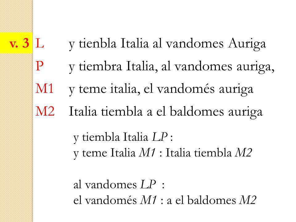 L y tienbla Italia al vandomes Auriga P y tiembra Italia, al vandomes auriga, M1 y teme italia, el vandomés auriga M2 Italia tiembla a el baldomes aur
