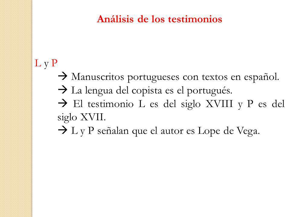 Análisis de los testimonios L y P Manuscritos portugueses con textos en español. La lengua del copista es el portugués. El testimonio L es del siglo X