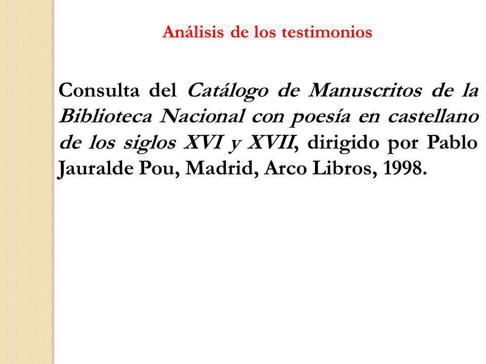 Análisis de los testimonios Consulta del Catálogo de Manuscritos de la Biblioteca Nacional con poesía en castellano de los siglos XVI y XVII, dirigido