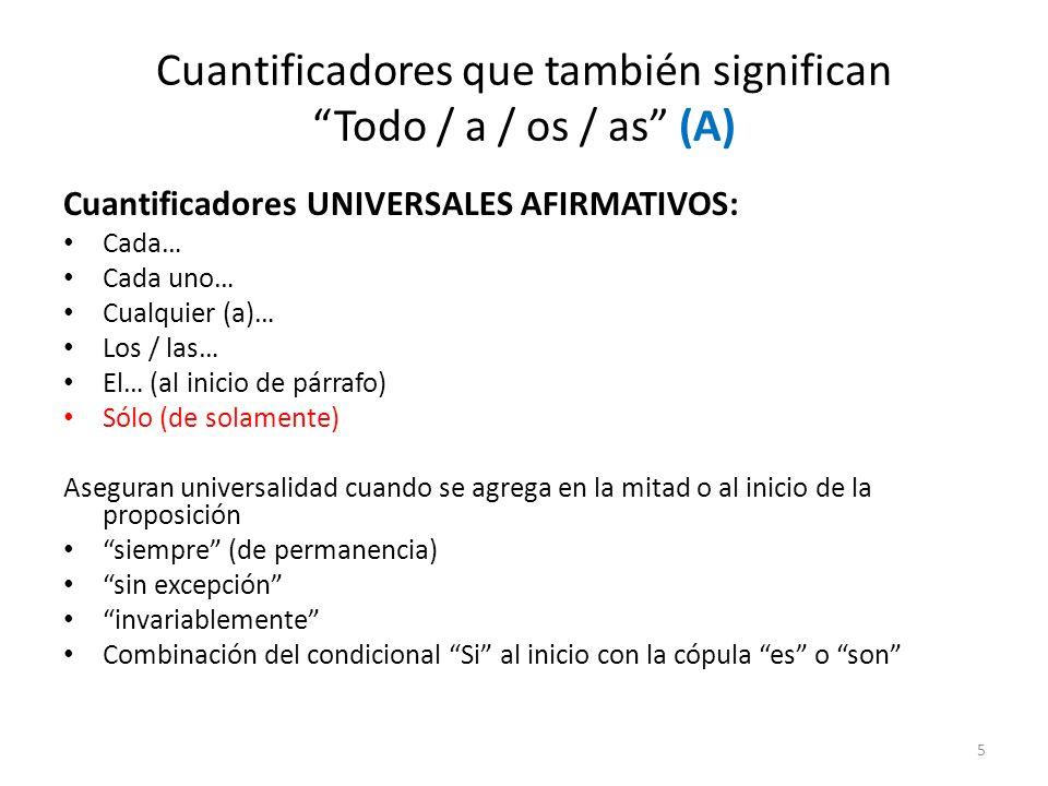 Cuantificadores que también significan Todo / a / os / as (A) Cuantificadores UNIVERSALES AFIRMATIVOS: Cada… Cada uno… Cualquier (a)… Los / las… El… (