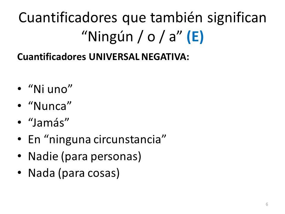 Cuantificadores que también significan Ningún / o / a (E) Cuantificadores UNIVERSAL NEGATIVA: Ni uno Nunca Jamás En ninguna circunstancia Nadie (para