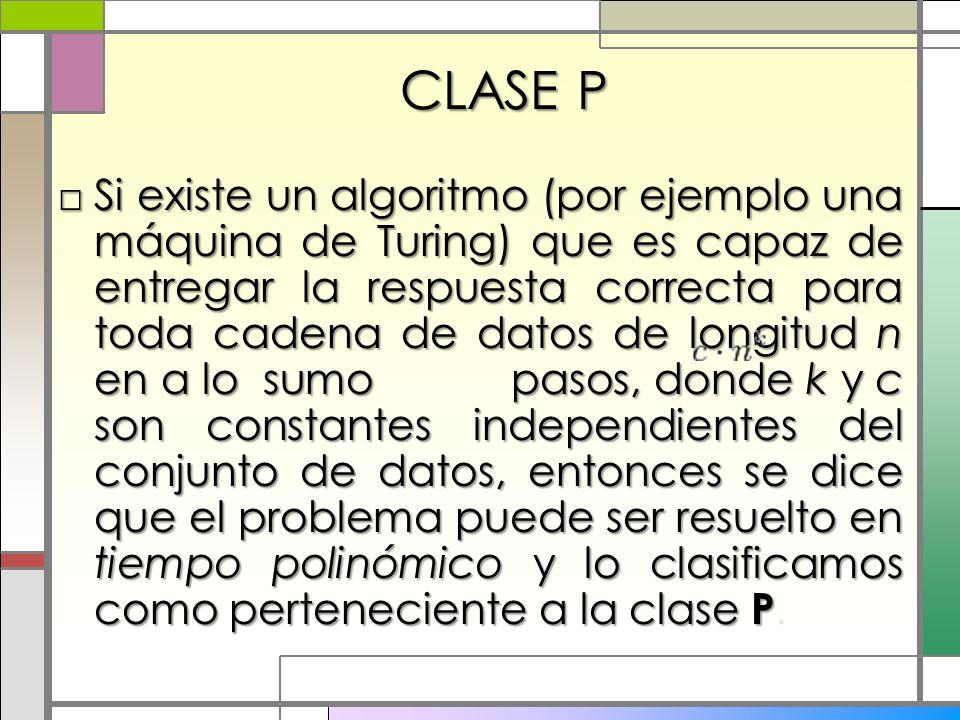 CLASE P Si existe un algoritmo (por ejemplo una máquina de Turing) que es capaz de entregar la respuesta correcta para toda cadena de datos de longitu