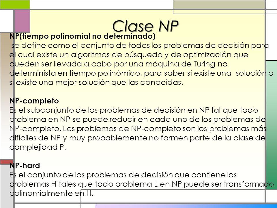 Clase NP NP(tiempo polinomial no determinado) se define como el conjunto de todos los problemas de decisión para el cual existe un algoritmos de búsqu