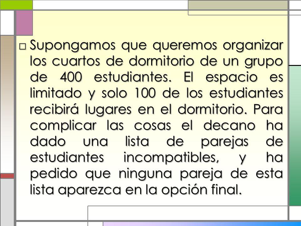 Supongamos que queremos organizar los cuartos de dormitorio de un grupo de 400 estudiantes. El espacio es limitado y solo 100 de los estudiantes recib