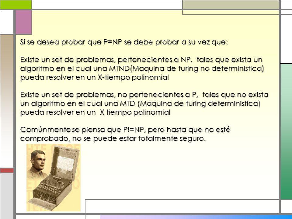 Si se desea probar que P=NP se debe probar a su vez que: Existe un set de problemas, pertenecientes a NP, tales que exista un algoritmo en el cual una
