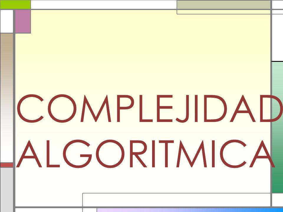 Mejor caso Ω(n) Caso promedio Θ(n) Peor Caso O (n) entrada Pasos realizados por el algoritmo Salida