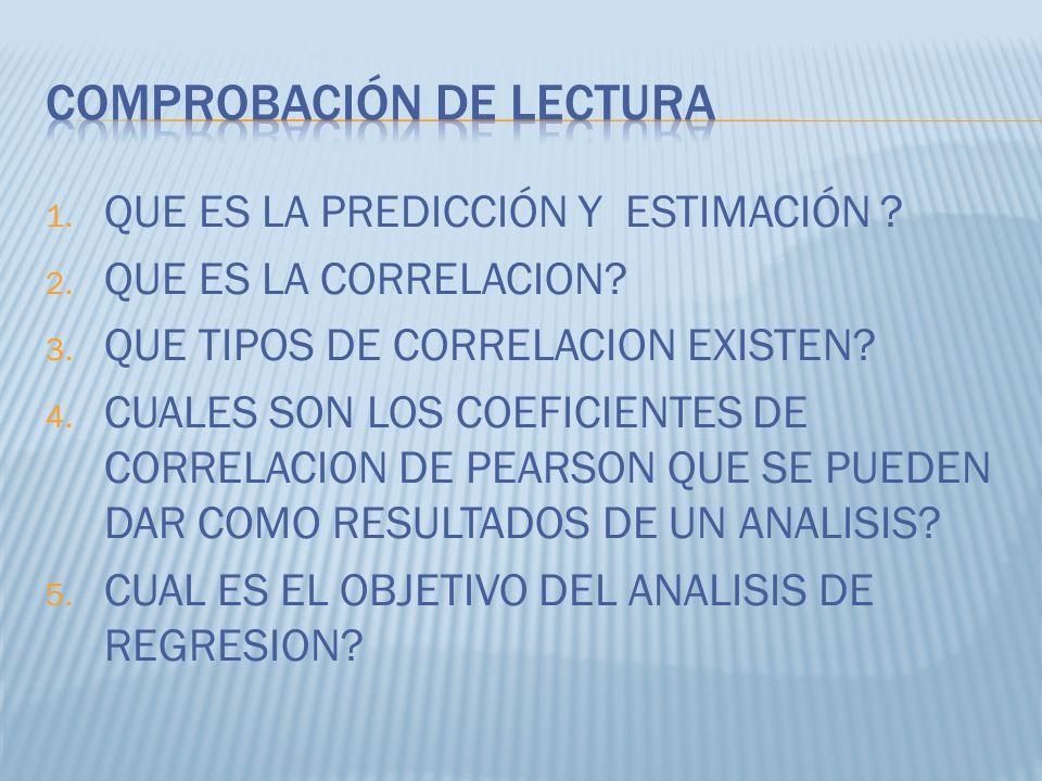1. QUE ES LA PREDICCIÓN Y ESTIMACIÓN ? 2. QUE ES LA CORRELACION? 3. QUE TIPOS DE CORRELACION EXISTEN? 4. CUALES SON LOS COEFICIENTES DE CORRELACION DE