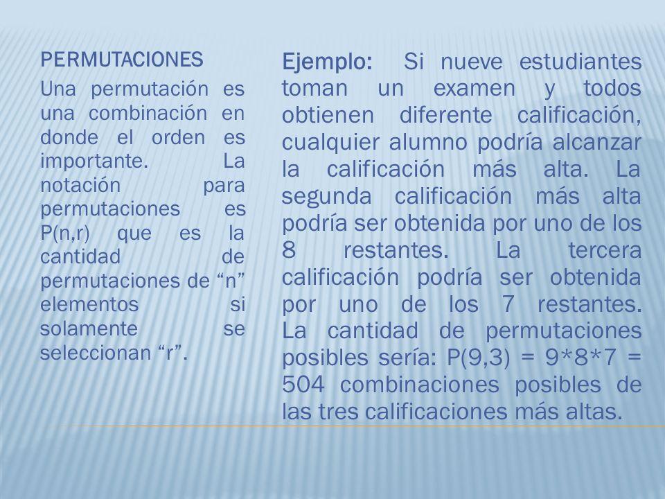 PERMUTACIONES Una permutación es una combinación en donde el orden es importante. La notación para permutaciones es P(n,r) que es la cantidad de permu