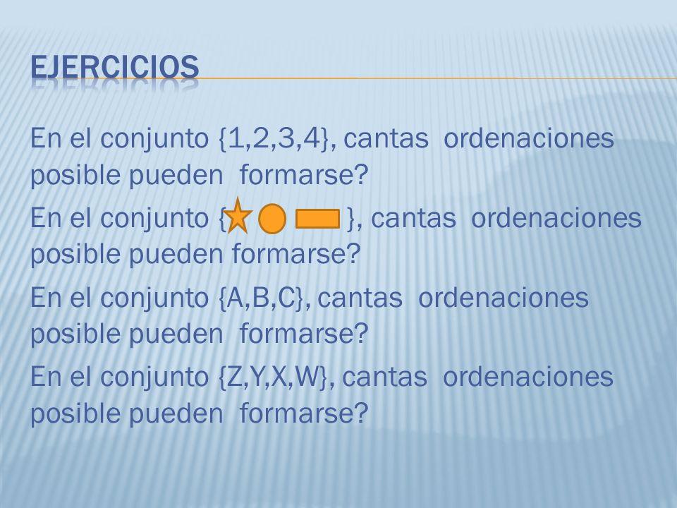 En el conjunto {1,2,3,4}, cantas ordenaciones posible pueden formarse? En el conjunto { }, cantas ordenaciones posible pueden formarse? En el conjunto