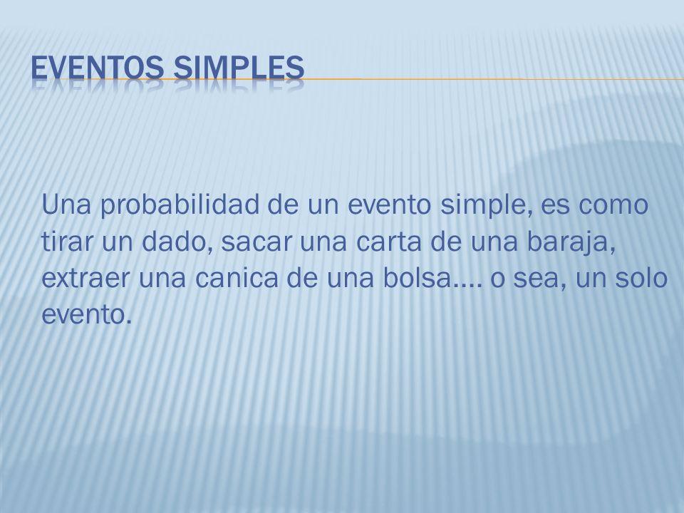 Una probabilidad de un evento simple, es como tirar un dado, sacar una carta de una baraja, extraer una canica de una bolsa.... o sea, un solo evento.