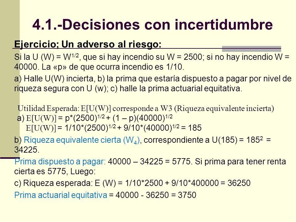 Ejercicio; Un adverso al riesgo: Si la U (W) = W 1/2, que si hay incendio su W = 2500; si no hay incendio W = 40000.