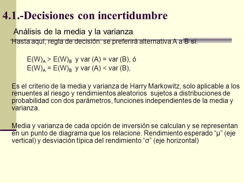 Análisis de la media y la varianza Hasta aquí, regla de decisión: se preferirá alternativa A a B si: E(W) A > E(W) B y var (A) = var (B), ó E(W) A = E(W) B y var (A) < var (B), Es el criterio de la media y varianza de Harry Markowitz, solo aplicable a los renuentes al riesgo y rendimientos aleatorios sujetos a distribuciones de probabilidad con dos parámetros, funciones independientes de la media y varianza.