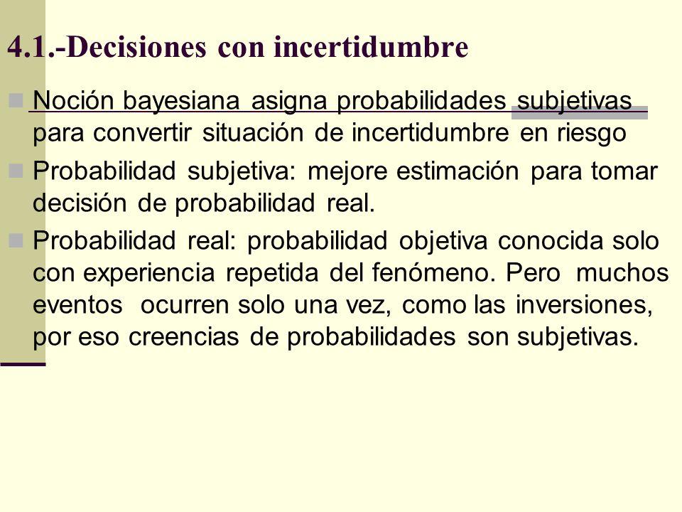 4.1.-Decisiones con incertidumbre Noción bayesiana asigna probabilidades subjetivas para convertir situación de incertidumbre en riesgo Probabilidad subjetiva: mejore estimación para tomar decisión de probabilidad real.