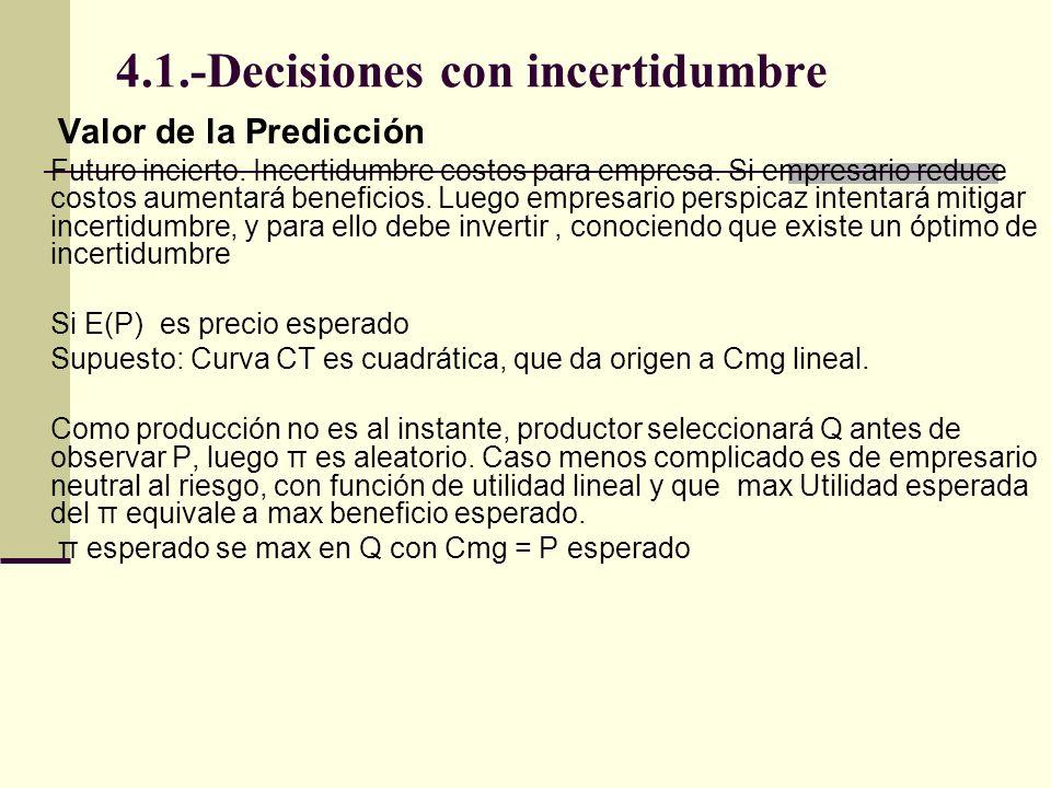 4.1.-Decisiones con incertidumbre Valor de la Predicción Futuro incierto. Incertidumbre costos para empresa. Si empresario reduce costos aumentará ben