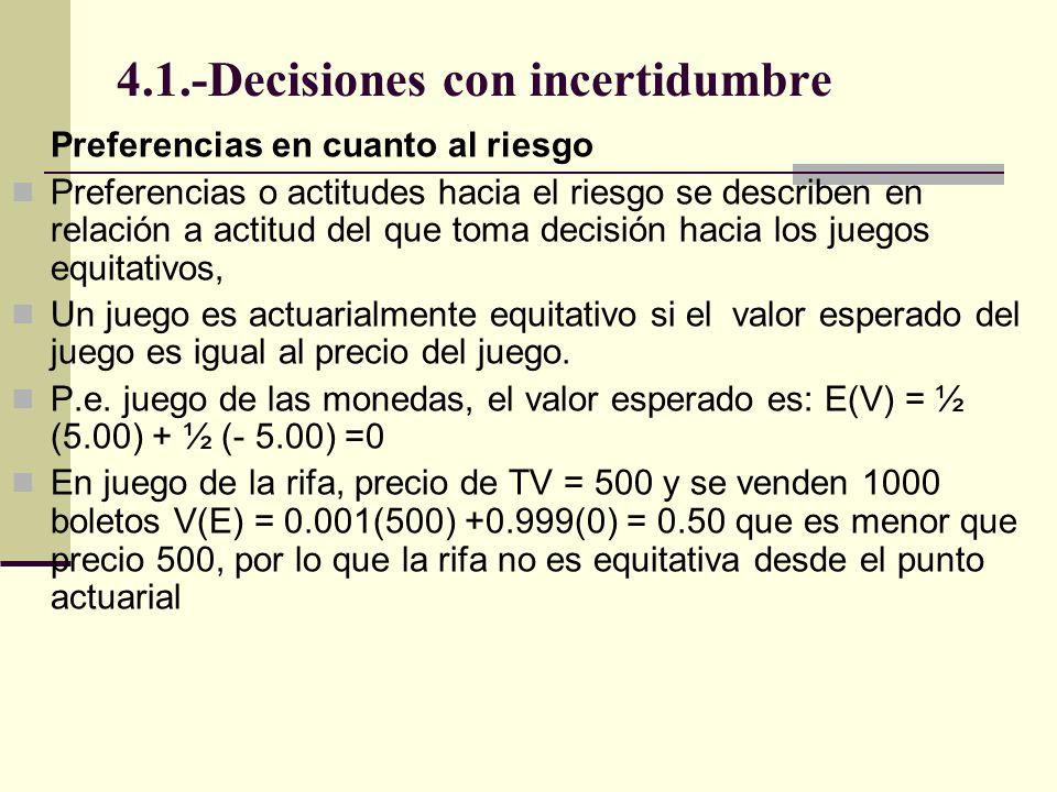 4.1.-Decisiones con incertidumbre Preferencias en cuanto al riesgo Preferencias o actitudes hacia el riesgo se describen en relación a actitud del que