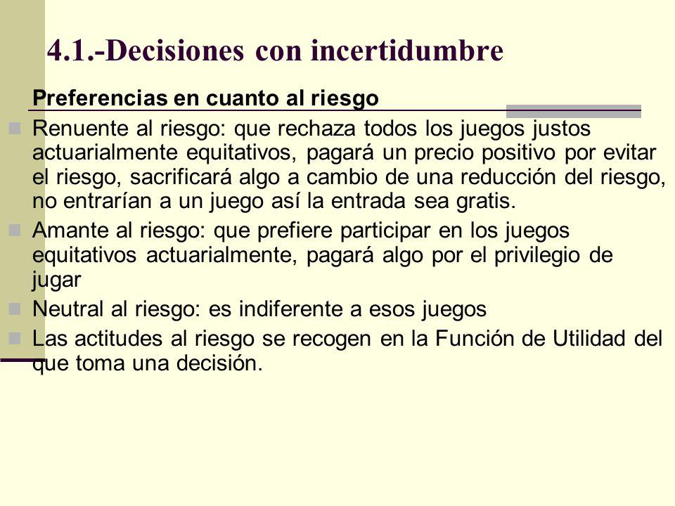 4.1.-Decisiones con incertidumbre Preferencias en cuanto al riesgo Renuente al riesgo: que rechaza todos los juegos justos actuarialmente equitativos,
