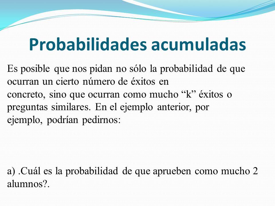 Probabilidades acumuladas Es posible que nos pidan no sólo la probabilidad de que ocurran un cierto número de éxitos en concreto, sino que ocurran como mucho k éxitos o preguntas similares.