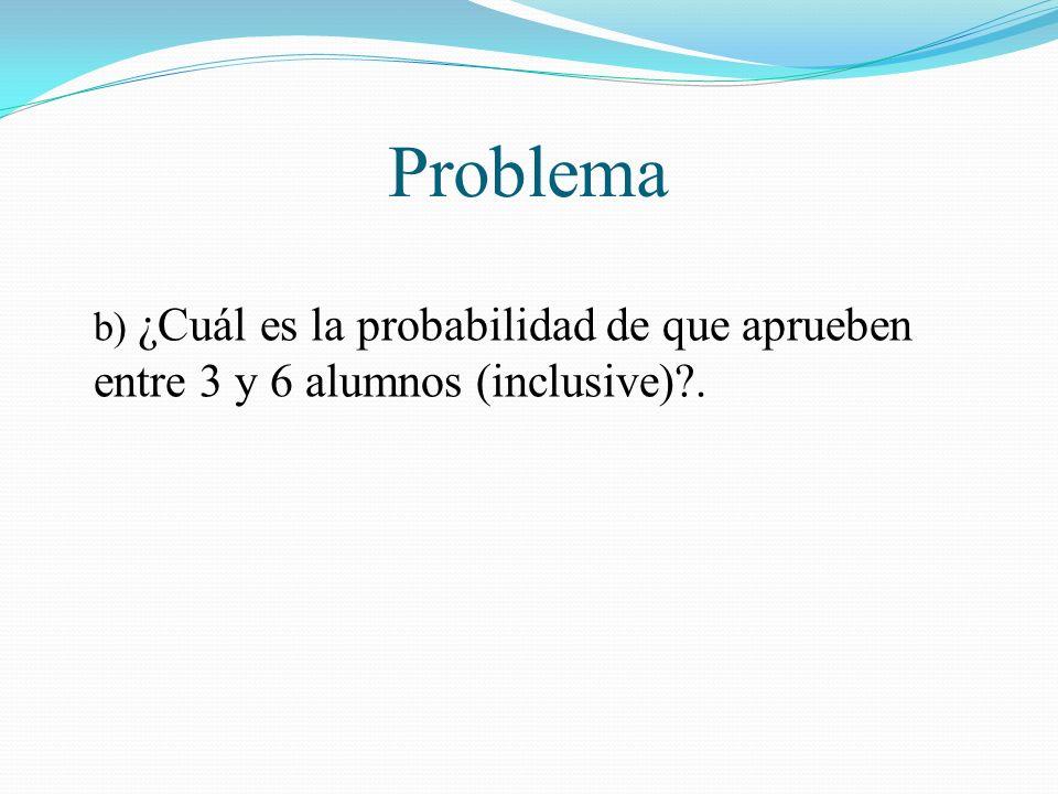Problema b) ¿Cuál es la probabilidad de que aprueben entre 3 y 6 alumnos (inclusive)?.