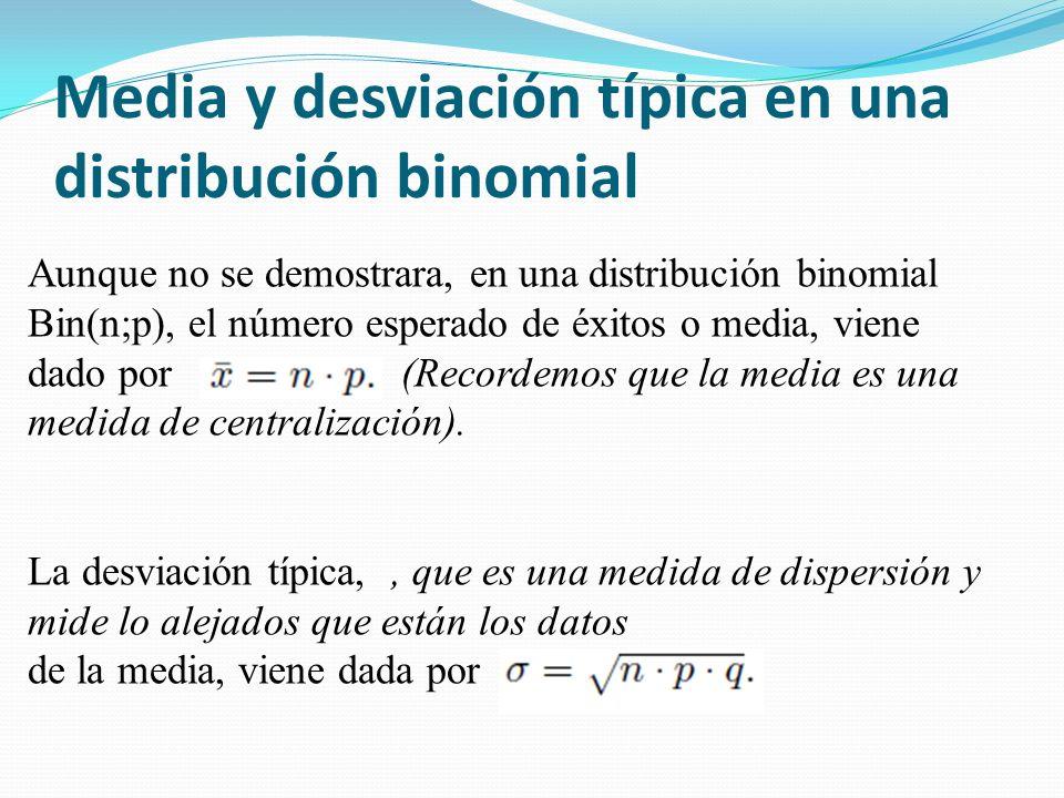 Media y desviación típica en una distribución binomial Aunque no se demostrara, en una distribución binomial Bin(n;p), el número esperado de éxitos o media, viene dado por (Recordemos que la media es una medida de centralización).