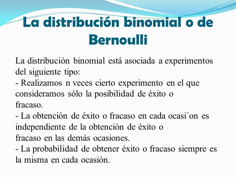 La distribución binomial o de Bernoulli La distribución binomial está asociada a experimentos del siguiente tipo: - Realizamos n veces cierto experimento en el que consideramos sólo la posibilidad de éxito o fracaso.