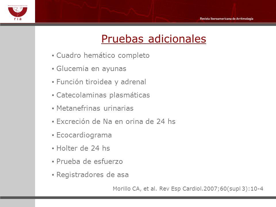 Pruebas adicionales Cuadro hemático completo Glucemia en ayunas Función tiroidea y adrenal Catecolaminas plasmáticas Metanefrinas urinarias Excreción