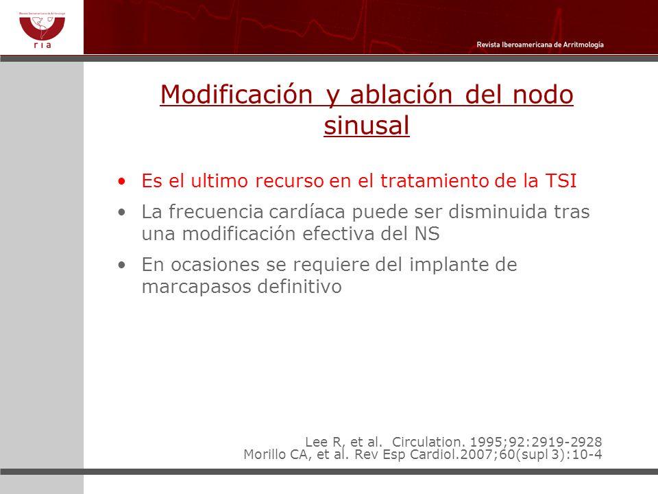 Modificación y ablación del nodo sinusal Es el ultimo recurso en el tratamiento de la TSI La frecuencia cardíaca puede ser disminuida tras una modific