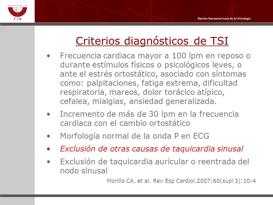Criterios diagnósticos de TSI Frecuencia cardiaca mayor a 100 lpm en reposo o durante estímulos físicos o psicológicos leves, o ante el estrés ortostá