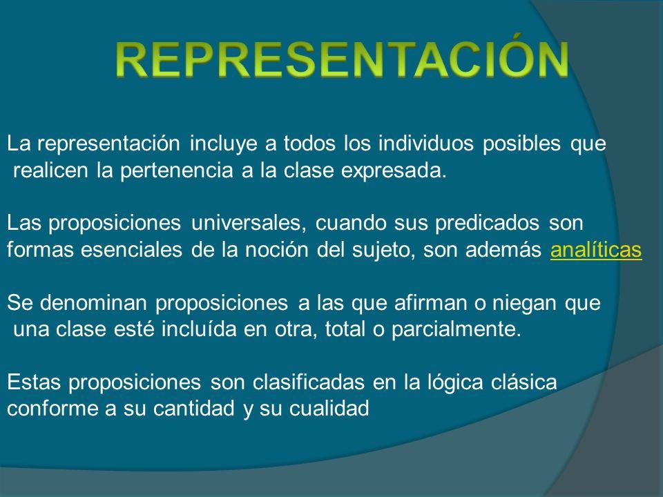 La representación incluye a todos los individuos posibles que realicen la pertenencia a la clase expresada. Las proposiciones universales, cuando sus