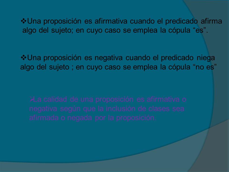 Una proposición es afirmativa cuando el predicado afirma algo del sujeto; en cuyo caso se emplea la cópula es. Una proposición es negativa cuando el p
