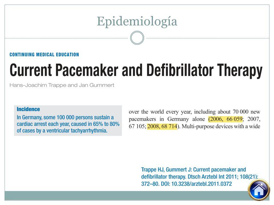MUSTIC, PATH-CHF, MIRACLE CARE-HF Falla cardiaca NYHA III o IV Fraccion de eyección < 35% QRS > 0.12 segundos Falla cardiaca NYHA III o IV QRS > 0.15 segundos QRS 0.12 y 0.149 segundos con signos eco cardiograficos de disincronía Indicaciones Trappe HJ, Gummert J: Current pacemaker and defibrillator therapy.