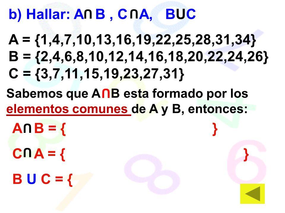 A = {1,4,7,10,13,16,19,22,25,28,31,34} B = {2,4,6,8,10,12,14,16,18,20,22,24,26} C = {3,7,11,15,19,23,27,31} b) Hallar: A B, C A, BUC A B = { } C A = { } B U C = { Sabemos que A B esta formado por los elementos comunes de A y B, entonces: U U U U U