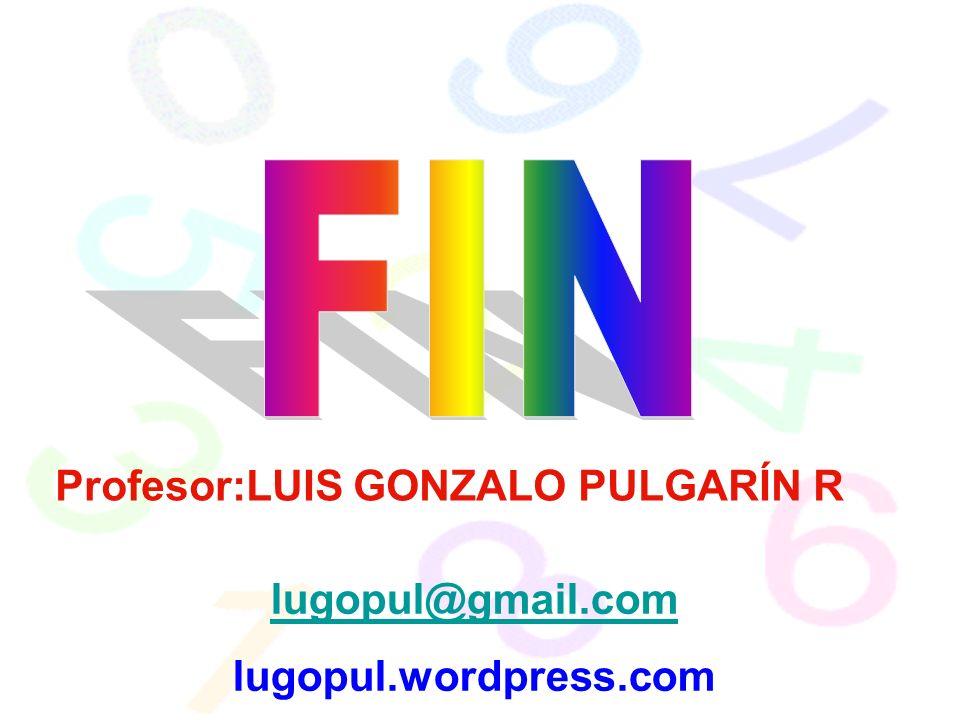 Profesor:LUIS GONZALO PULGARÍN R lugopul@gmail.com lugopul.wordpress.com