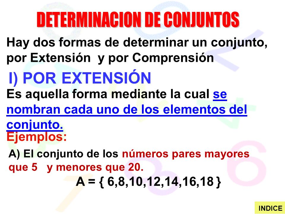 I) POR EXTENSIÓN Hay dos formas de determinar un conjunto, por Extensión y por Comprensión Es aquella forma mediante la cual se nombran cada uno de los elementos del conjunto.