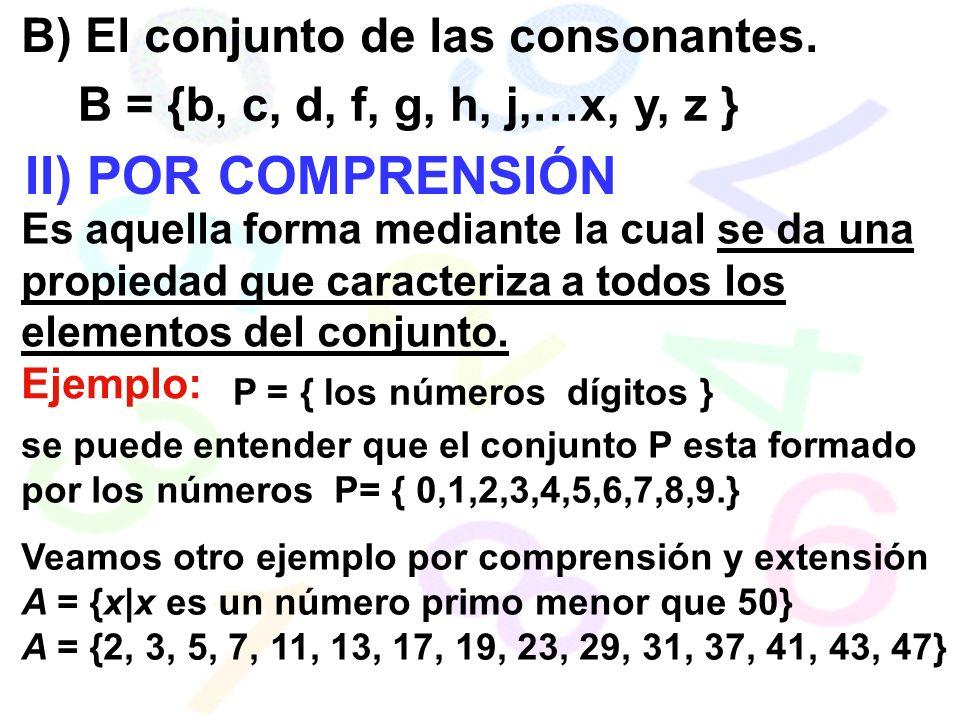 B) El conjunto de las consonantes.