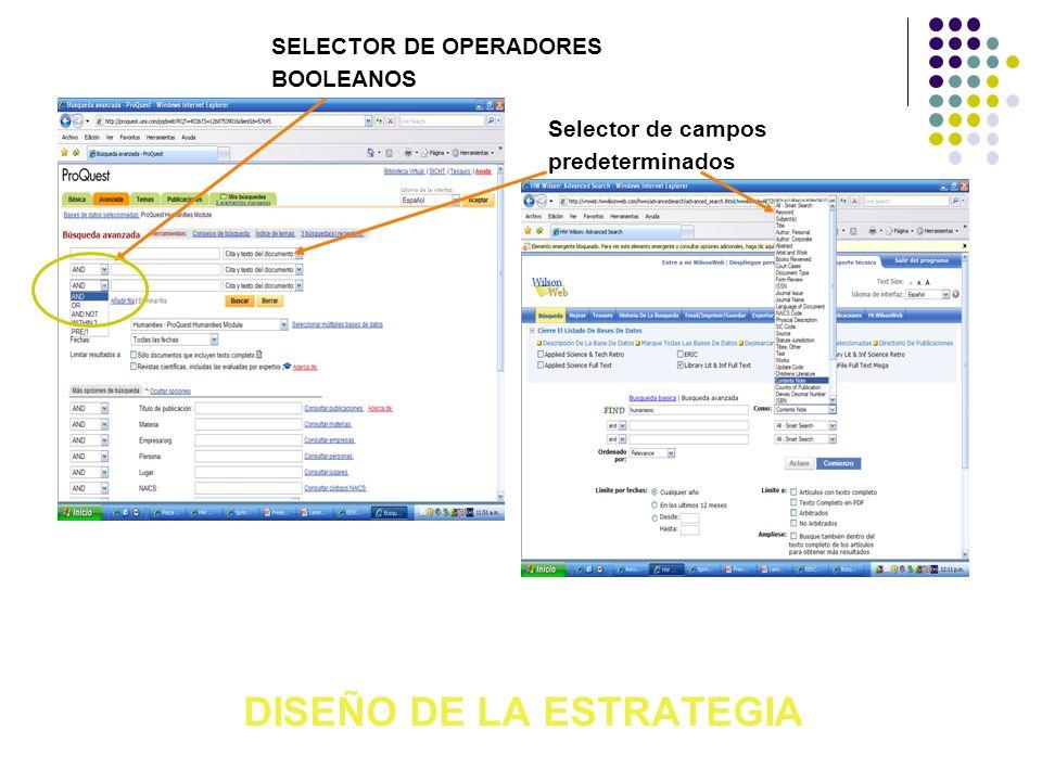 DISEÑO DE LA ESTRATEGIA Selector de campos predeterminados SELECTOR DE OPERADORES BOOLEANOS
