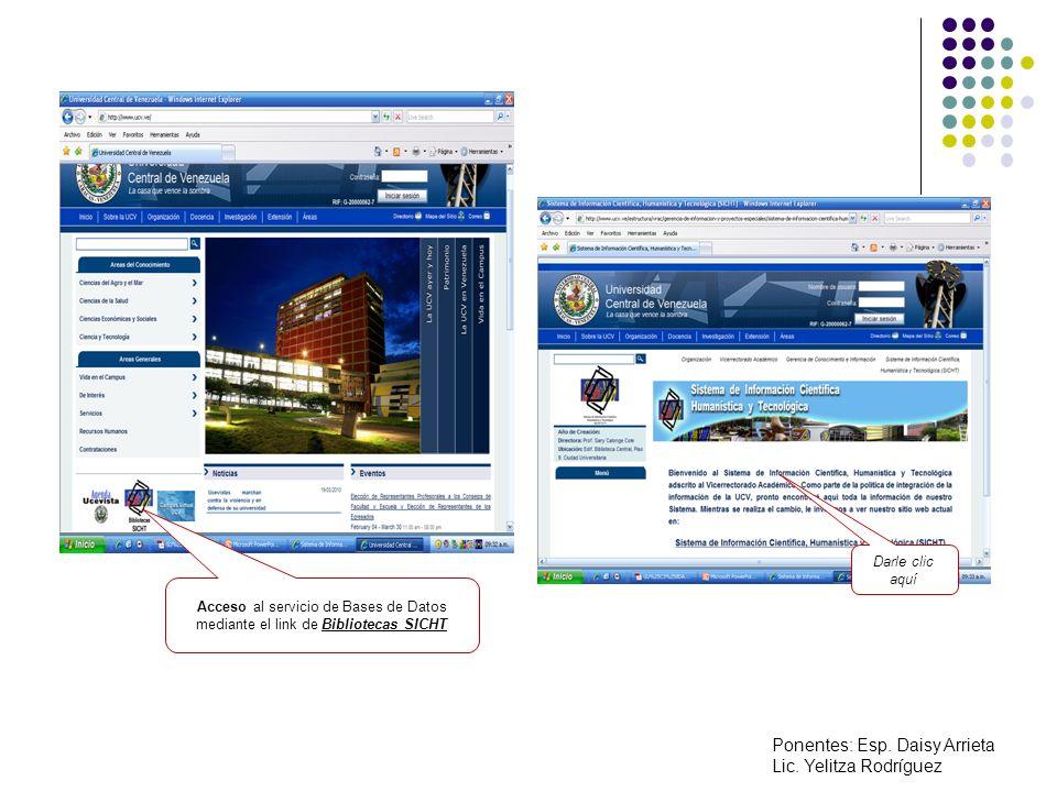 Acceso al servicio de Bases de Datos mediante el link de Bibliotecas SICHT Darle clic aquí Ponentes: Esp.