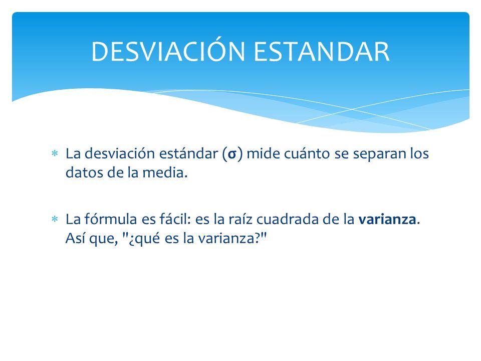 La desviación estándar (σ) mide cuánto se separan los datos de la media. La fórmula es fácil: es la raíz cuadrada de la varianza. Así que,