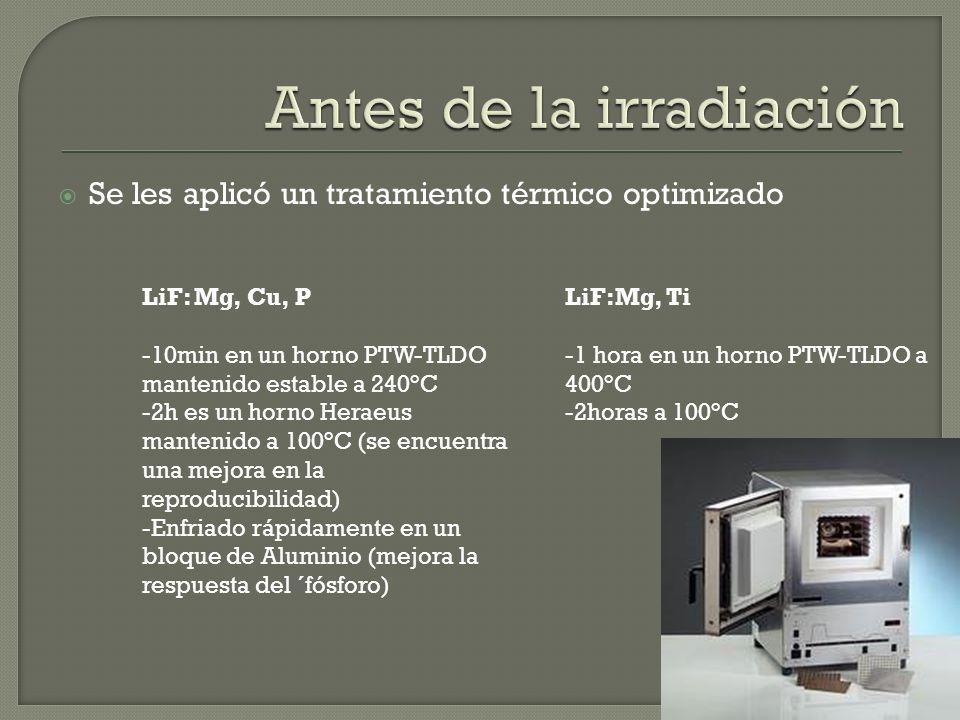 Se les aplicó un tratamiento térmico optimizado LiF: Mg, Cu, P -10min en un horno PTW-TLDO mantenido estable a 240°C -2h es un horno Heraeus mantenido a 100°C (se encuentra una mejora en la reproducibilidad) -Enfriado rápidamente en un bloque de Aluminio (mejora la respuesta del ´fósforo) LiF:Mg, Ti -1 hora en un horno PTW-TLDO a 400°C -2horas a 100°C