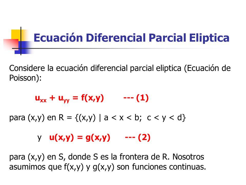 Considere la ecuación diferencial parcial eliptica (Ecuación de Poisson): u xx + u yy = f(x,y) --- (1) para (x,y) en R = {(x,y) | a < x < b; c < y < d