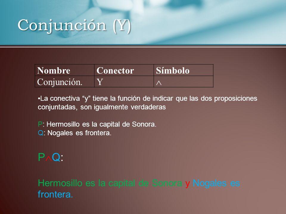 Conjunción (Y) NombreConectorSímbolo Conjunción.Y La conectiva y tiene la función de indicar que las dos proposiciones conjuntadas, son igualmente ver