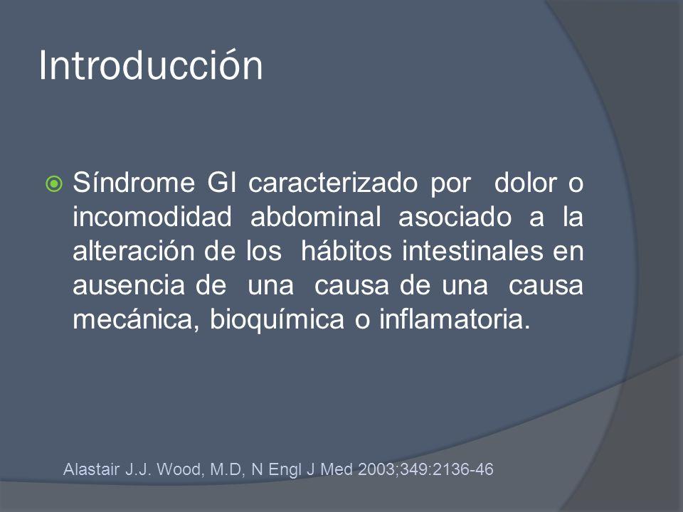 Introducción Síndrome GI caracterizado por dolor o incomodidad abdominal asociado a la alteración de los hábitos intestinales en ausencia de una causa