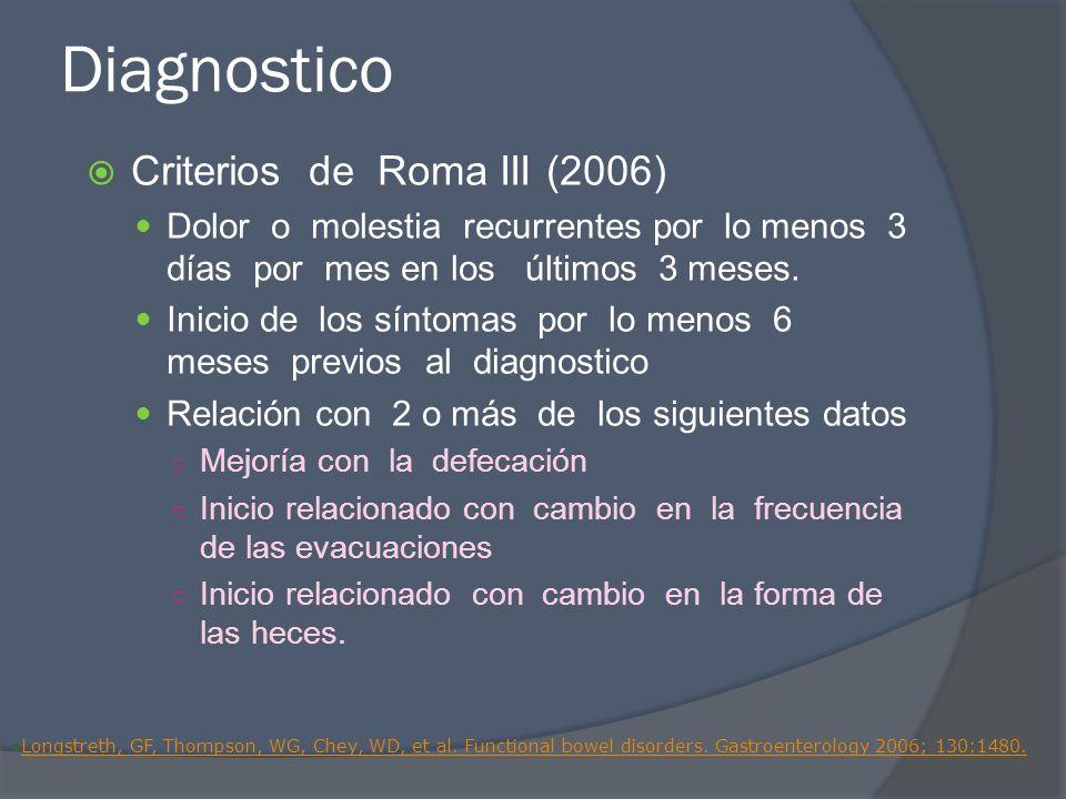 Diagnostico Criterios de Roma III (2006) Dolor o molestia recurrentes por lo menos 3 días por mes en los últimos 3 meses. Inicio de los síntomas por l