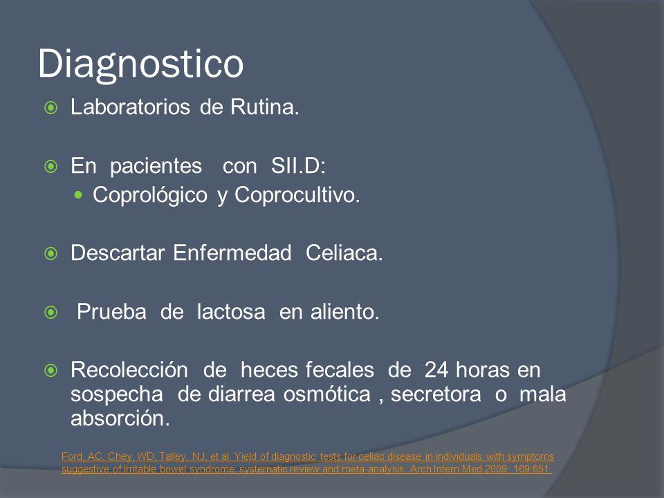 Diagnostico Laboratorios de Rutina. En pacientes con SII.D: Coprológico y Coprocultivo. Descartar Enfermedad Celiaca. Prueba de lactosa en aliento. Re