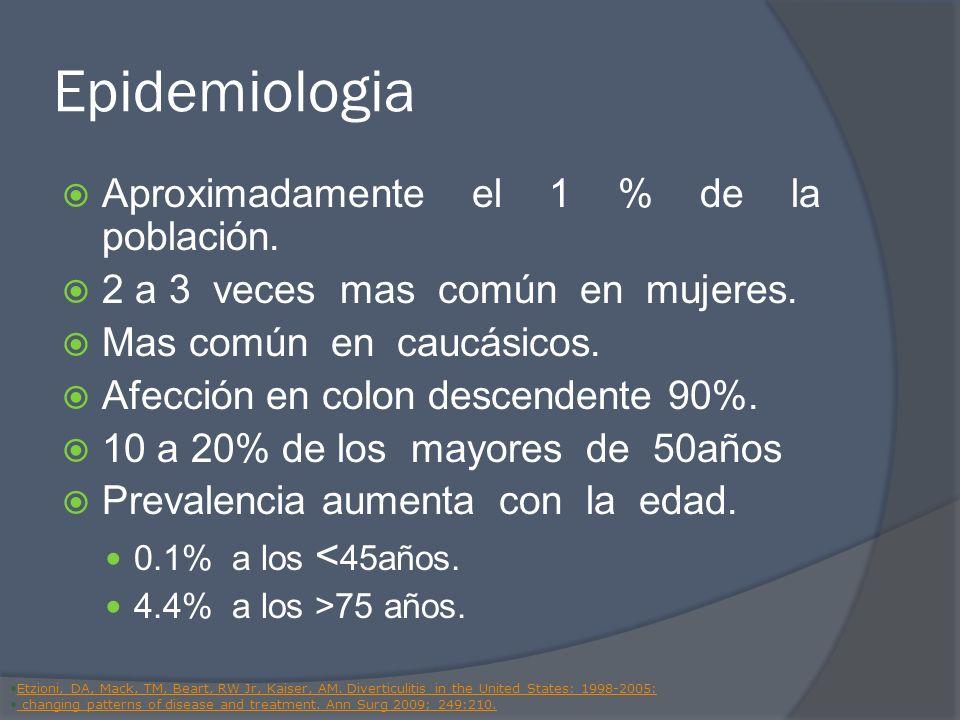 Epidemiologia Aproximadamente el 1 % de la población. 2 a 3 veces mas común en mujeres. Mas común en caucásicos. Afección en colon descendente 90%. 10
